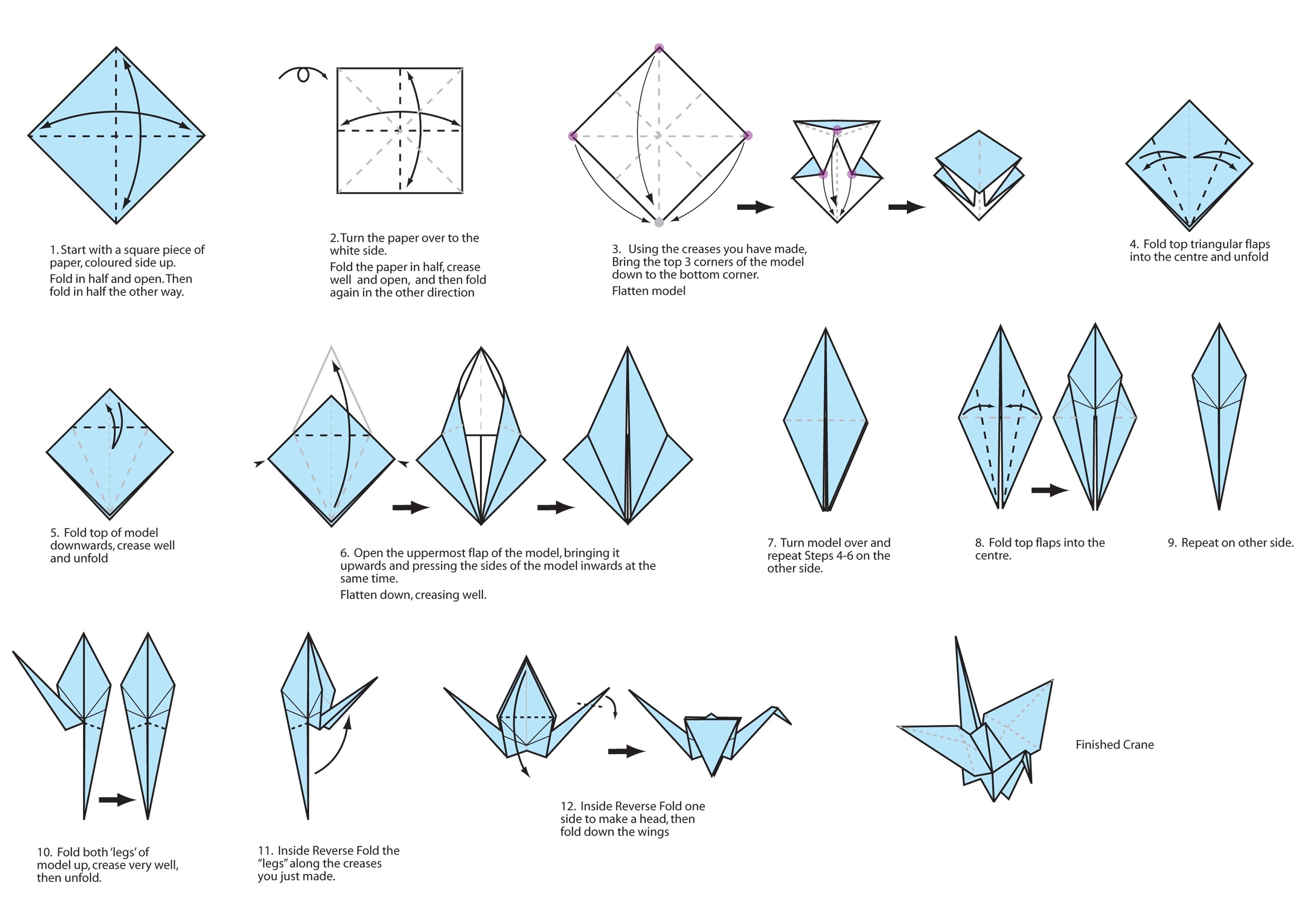origami crane thank you card instructions